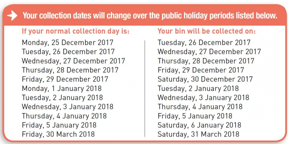Waste Recycle Guide Public Holiday Changes